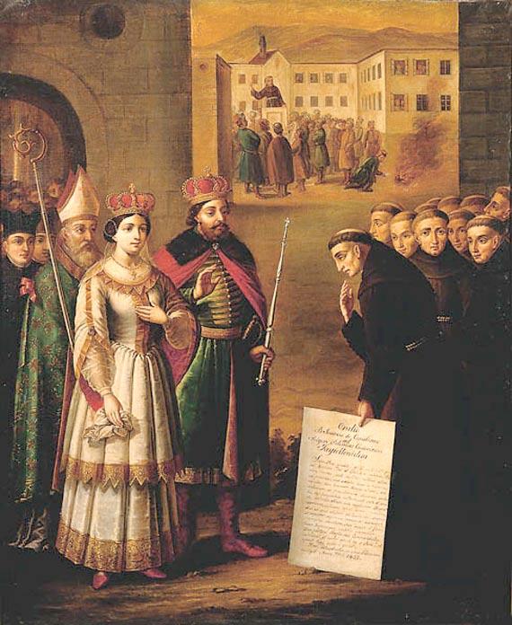 Casimir IV of Poland and his wife Elizabeth of Austria meeting Saint John of Capistrano.