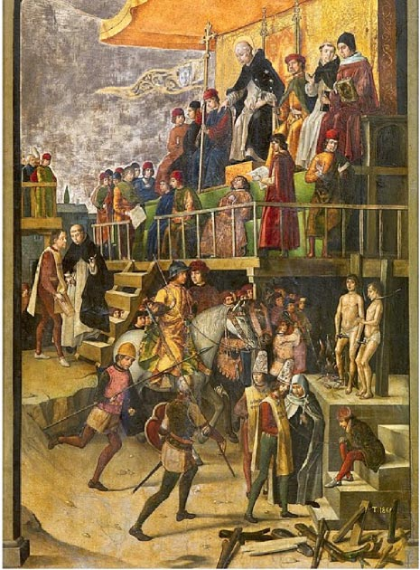Cathars being burnt at the stake in an auto-da-fé, anachronistically presided over by Saint Dominic. (Soerfm / Public Domain)
