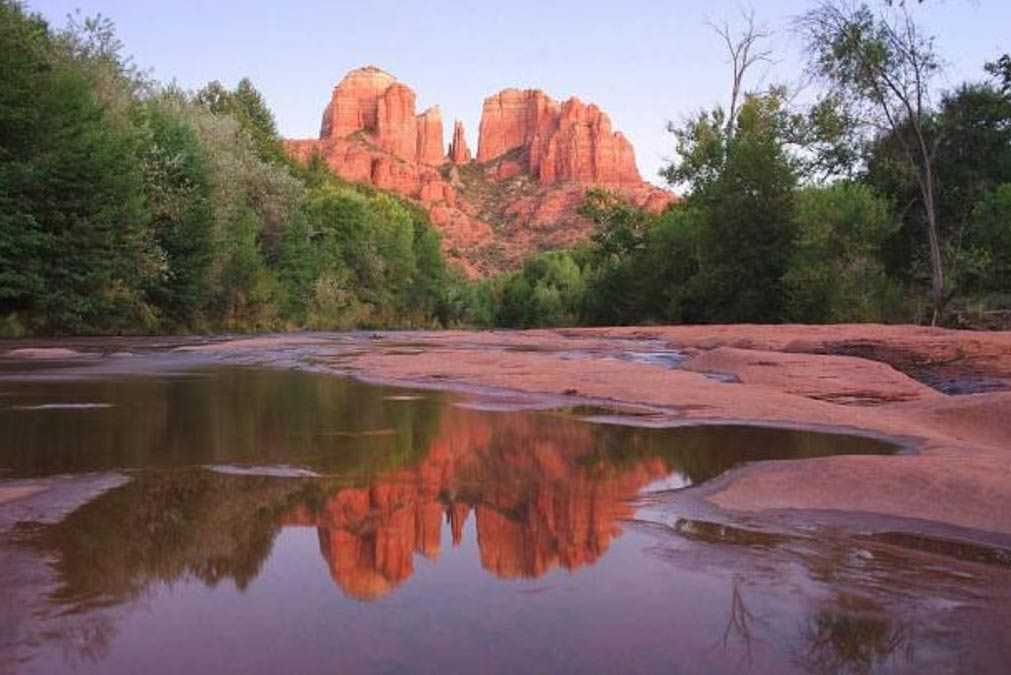 The striking red stone of Cathedral Rock, Sedona, Arizona