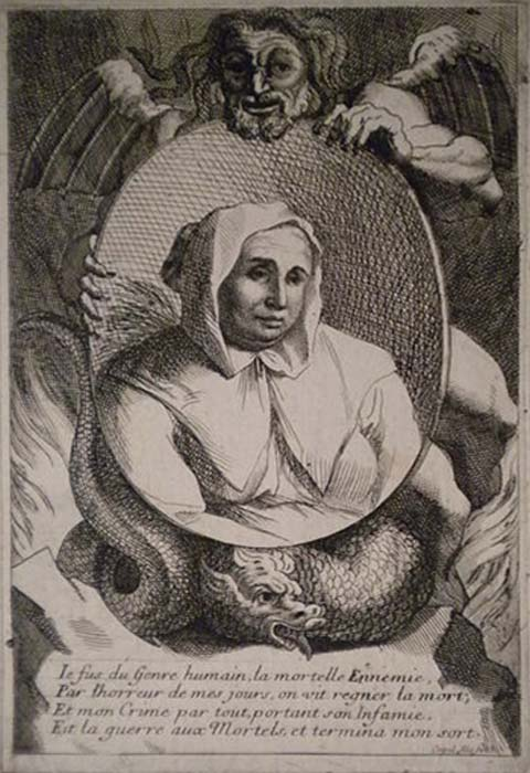 17th-century print of Catherine Deshayes' portrait held by a winged devil.