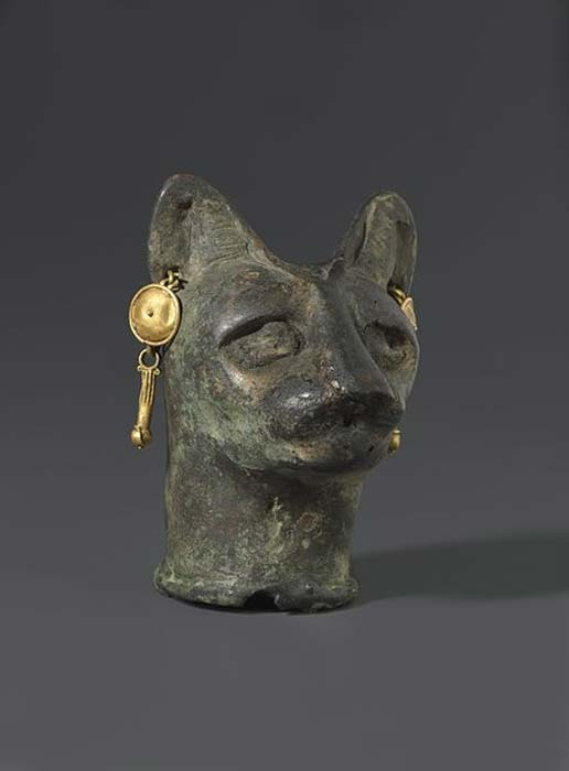 Cat's Head, 30 BC to third century AD. Bronze, gold.