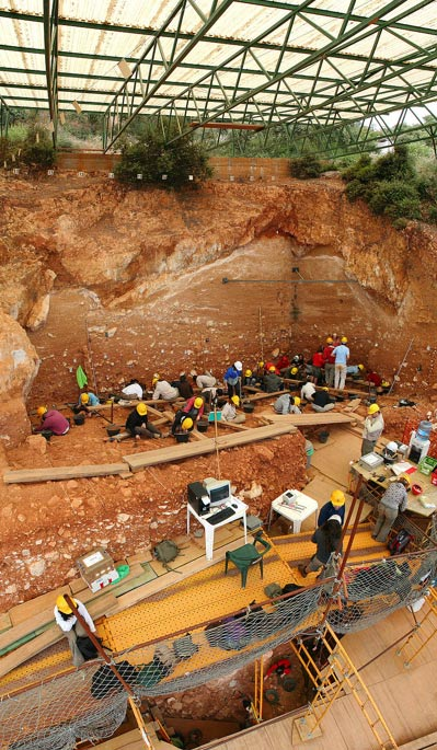 Cave excavation in Atapuerca, Spain.