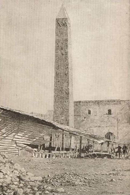The Central Park obelisk as it stood in Alexandria, published 1884.