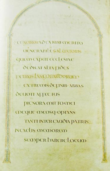 "Page with dedication; ""Ceolfrith of the English"" was altered into ""Peter of the Lombards."""