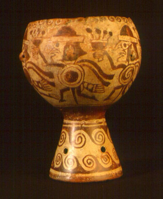 Ceremonial goblet with anthropomorphized weapon bundles carrying goblets.