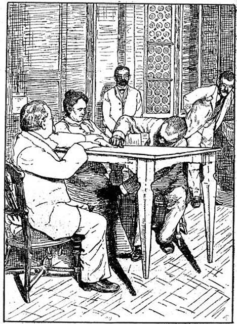 "Cesare Lombroso and Charles Richet ""control"" while Palladino levitates table, Milan, 1892. (Public Domain)"