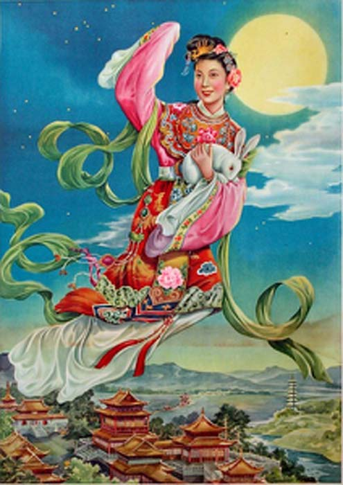 Chang'e flying off to the moon after she drank the elixir, one of the legends associated with the Mid-Autumn Festival. (Shuishouyue / Public Domain)