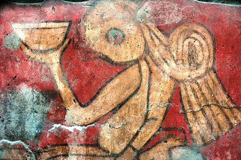Character holding a small vessel. Mural drinkers - Mexico