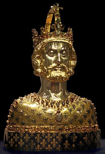 Mask reliquary of Charlemagne, located at Cathedral Treasury in Aachen.