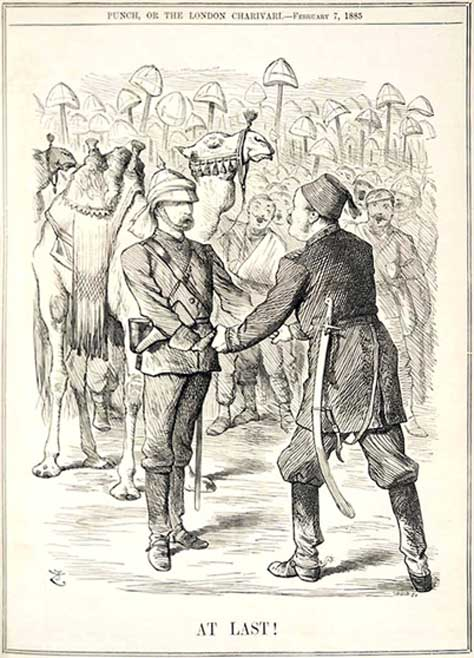 Charles Gordon greeting reinforcements at Khartoum in 1885.