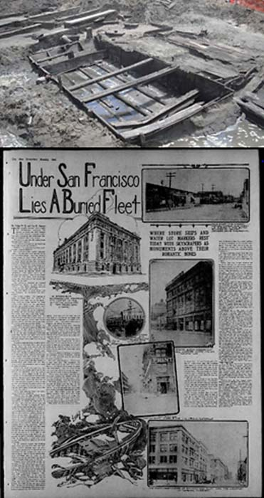 op: The Charles Hare Lighter was discovered during a construction excavation at the corner of Folsom and Main streets in San Francisco. (William Self Associates/National Park Service) Bottom: An article about the ships buried under San Francisco in 'The San Francisco call', August 11, 1912