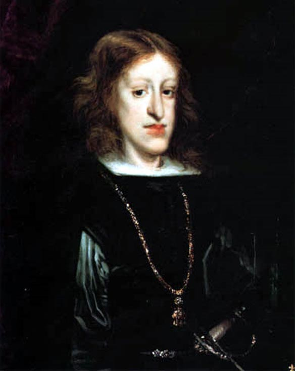 Charles II, King of Spain, who ruled during the time of the Encarnación. Portrait by Juan Carreño de Miranda, 1685.