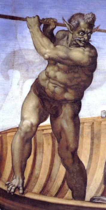 Charon as depicted by Michelangelo in his fresco 'The Last Judgment' in the Sistine Chapel.