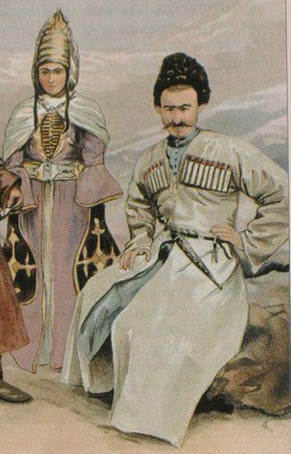 Chechen traditional dress. (Public Domain) Caucasus Chechens show a high percentage of haplogroup J.