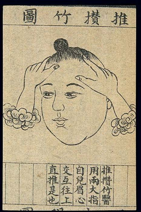 Chinese medical illustration in traditional style: Face massage.