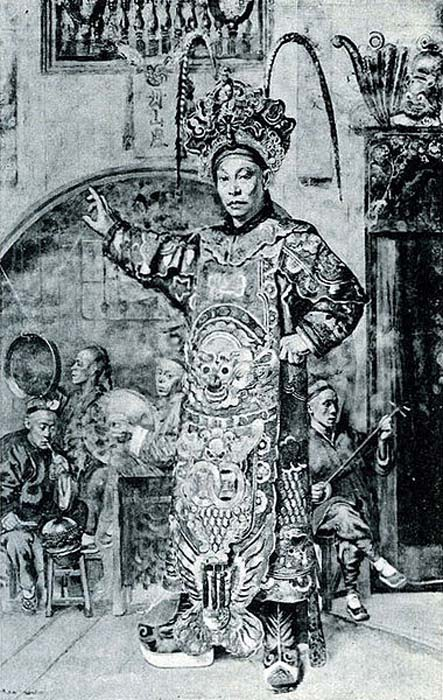 Chinese opera actor prepares for his entrance at the theatre, 1892.