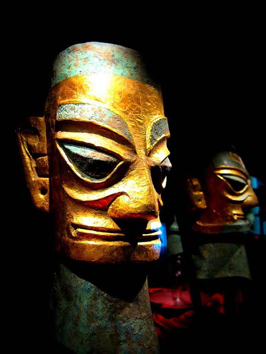 Though not from this year's Chinese treasure hoard, this Sanxingdui Ruins site bronze head wearing a gold foil mask is considered to be exceptional, and of great importance. (momo / CC BY 2.0)