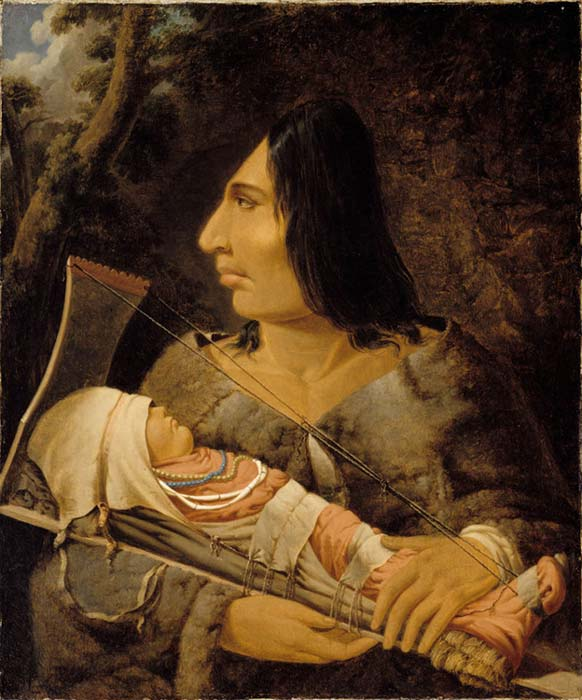 Painting by Paul Kane, showing a Chinookan child in the process of having its head flattened, and an adult after the process.