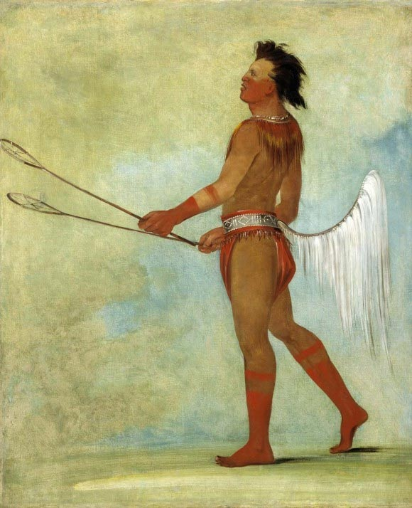 A Choctaw stick-ball player, depicted by George Catlin in 1834.