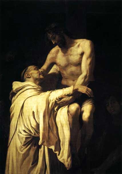 Christ Embracing St Bernard by Francisco Ribalta (circa 1625)