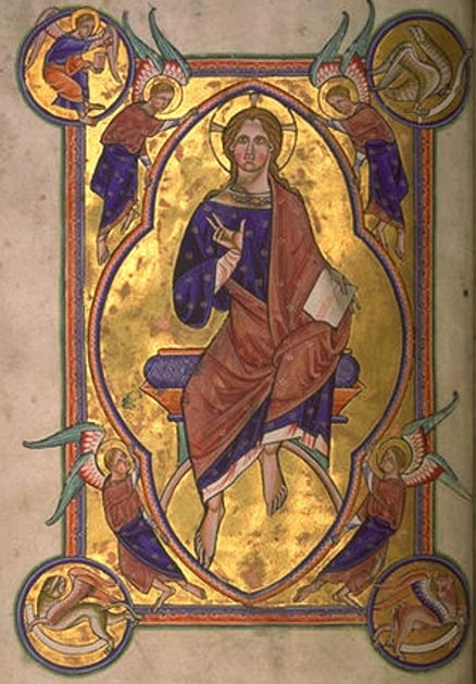 Christ in Majesty (12th century) from the Aberdeen Bestiary.