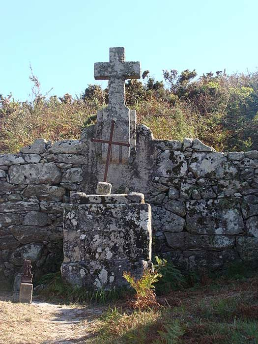 Christian cross on the Cíes Islands, Pontevedra, Galicia, Spain.