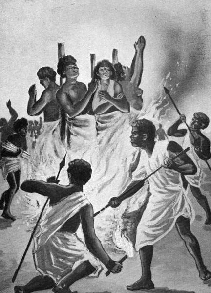 Illustration of Christian martyrs burned at the stake by Ranavalona I in Madagascar.