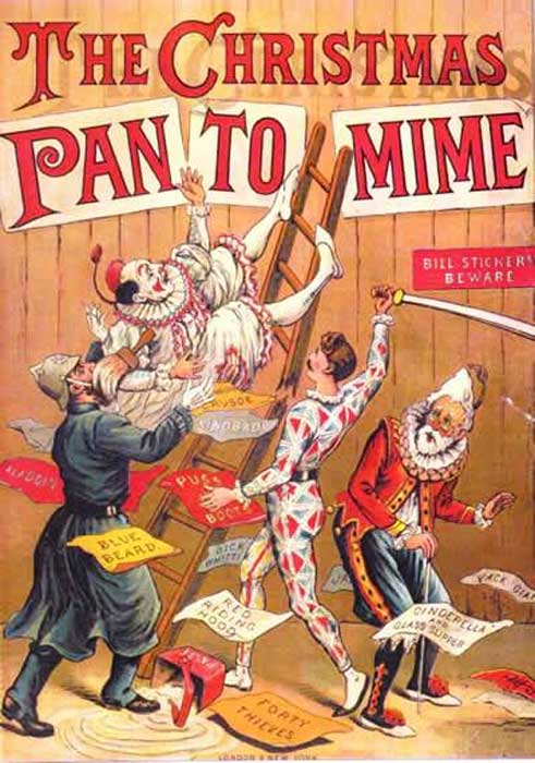 The Christmas Pantomime color lithograph bookcover, 1890, showing the harlequinade characters.