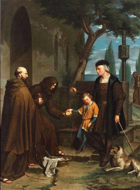 Christopher Columbus at the gates of the monastery of Santa María de la Rábida with his son Diego, by Benet Mercadé.