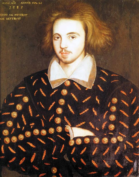 A portrait believed to be of Christopher Marlowe, (1564-1593)