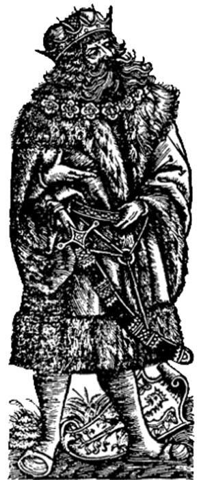 Illustration from the Chronica Polonorum depicting 'Lech' the legendary founder of Lechia (Poland).