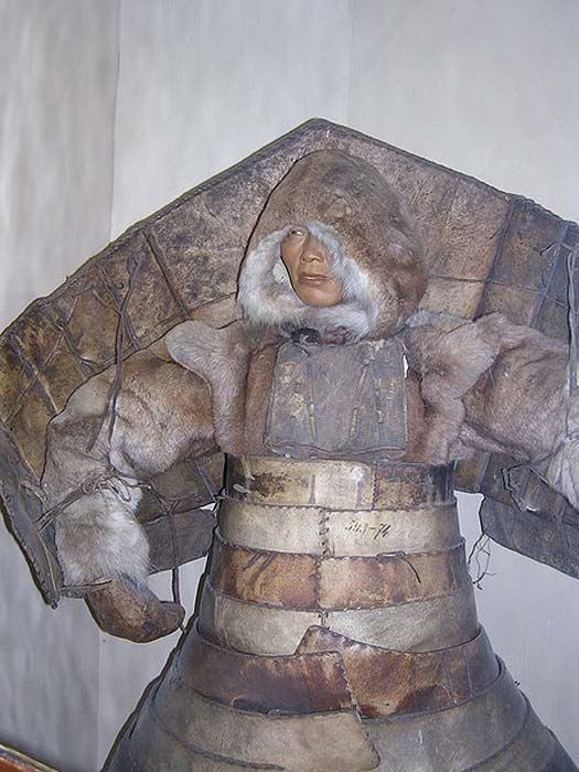 Chukchi walrus hide and wood armor from Eastern Siberia with back shield characteristic of Chukchi and Koryak armors