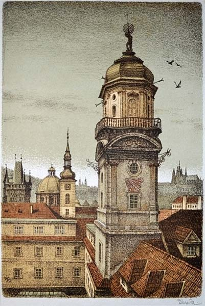 1945 illustration of the Clementinum's astronomical tower by Vojtech Kubasta.