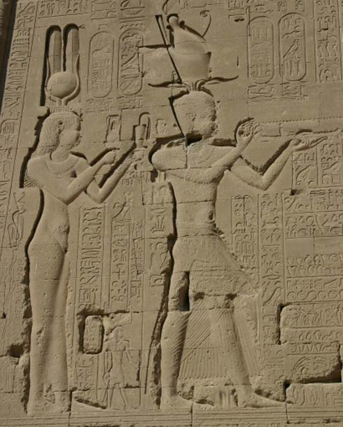 A relief of Cleopatra VII and Caesarion at the temple of Dendera, Egypt.