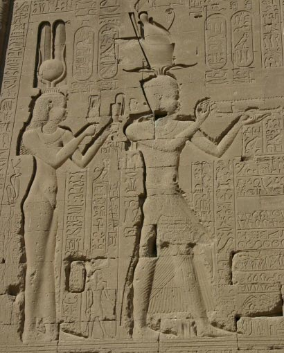 Cleopatra VII and her son Caesarion at the Temple of Dendera
