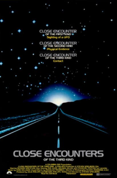 Theatrical poster for Close Encounters of the Third Kind (1977) originally issued for promotional purposes. (Fair Use)