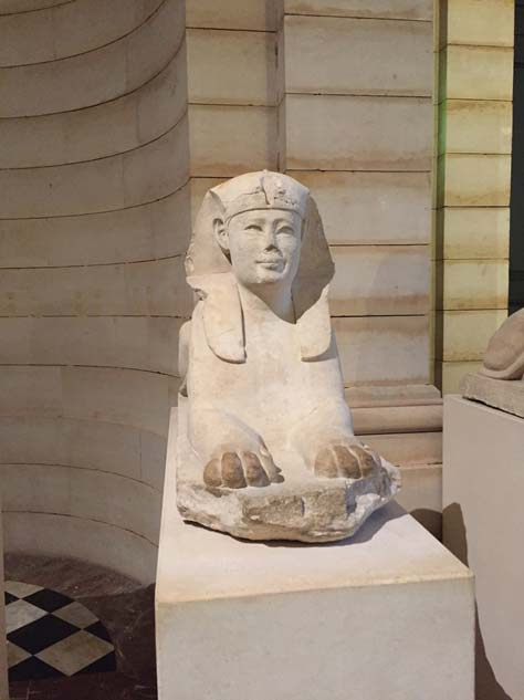 Close-up of one of the six sphinxes. (Photo by the author.)