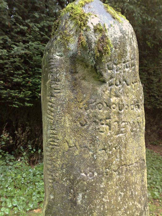 Close-up of the undeciphered writing on the Newton Stone. (golux/The Megalithic Portal)