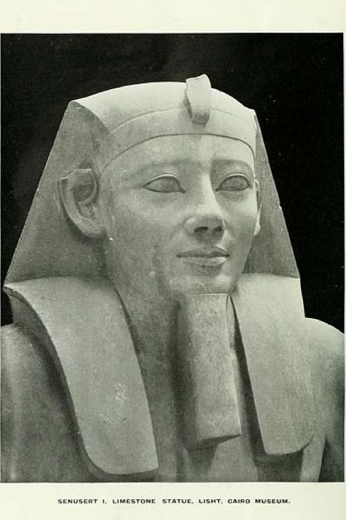 Closeup of a statue of pharaoh Senusret I. Limestone, from el-Lisht, 12th dynasty, Middle Kingdom, now at the Cairo Museum. (Public Domain)