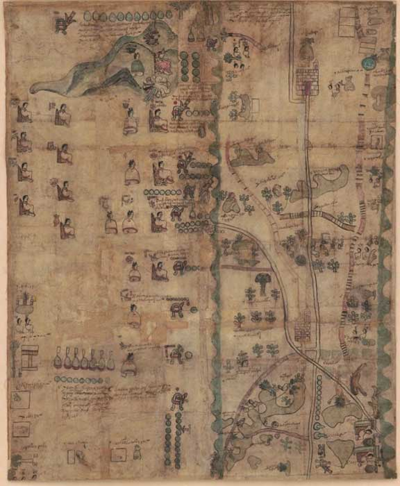 Codex Quetzalecatzin Map or The Mapa de Ecatepec-Huitziltepec. Retrieved from the Library of Congress.