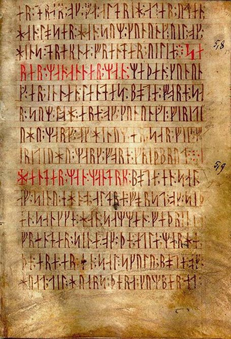Codex runicus, a vellum manuscript from c. 1300 containing one of the oldest and best preserved texts of the Scanian law (Skånske lov), written entirely in runes.