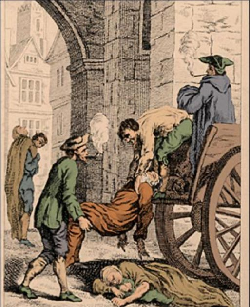 Collecting the dead for burial during the Great Plague of London. The last major outbreak of the Black Death in England. (7mike5000 / Public Domain)