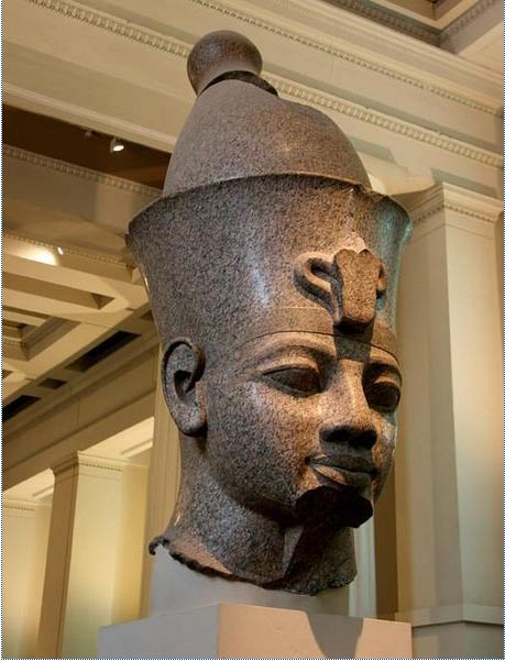 Colossal granite head of Amenhotep III at the British Museum.