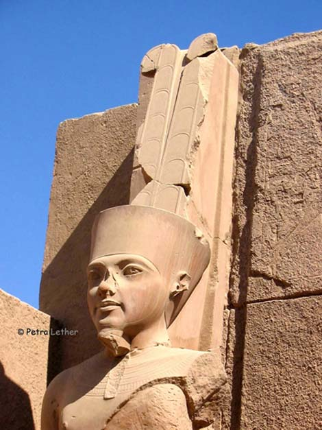 Colossal statue of Amun at Karnak Temple, carved in the likeness of Pharaoh Tutankhamun. As with almost all of the boy-king's monuments, Horemheb, the erstwhile generalissimo and last ruler of the Eighteenth Dynasty - who had served under the young king - usurped this sculpture too.