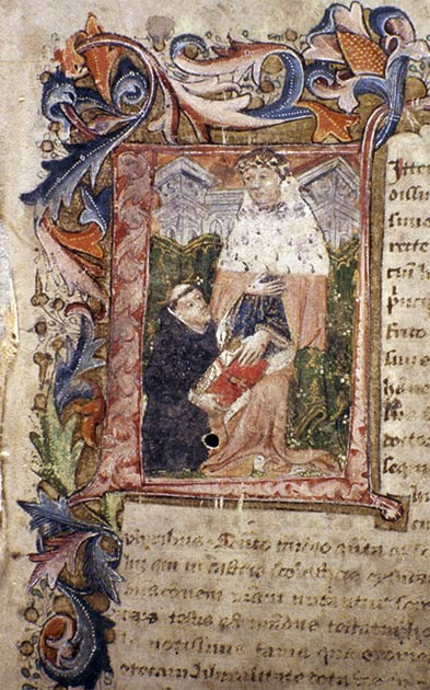 John Capgrave's Commentary on Exodus showing Capgrave presenting his manuscript to Humphrey, Duke of Gloucester. This is one of the original three volumes remaining from the original bequest of the Duke Humfrey Library in the University of Oxford. (unknown scribe / Public domain)