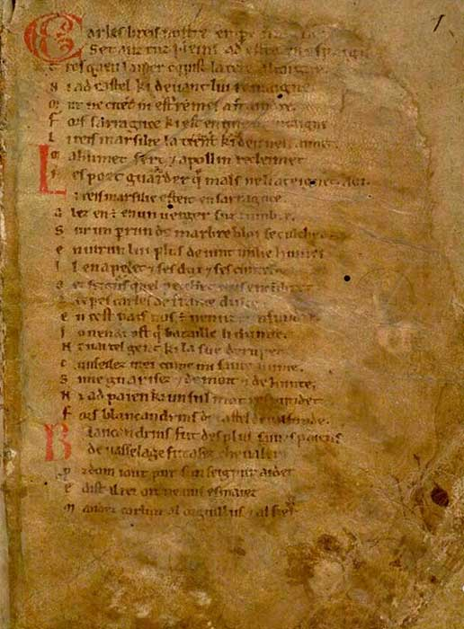 Composed in 1098, the first page of the Chanson de Roland (Song of Roland).