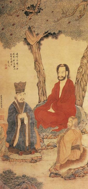 Confucio y Lao Tse budista Arhat
