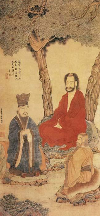 Confucius Lao-tzu and Buddhist Arhat.