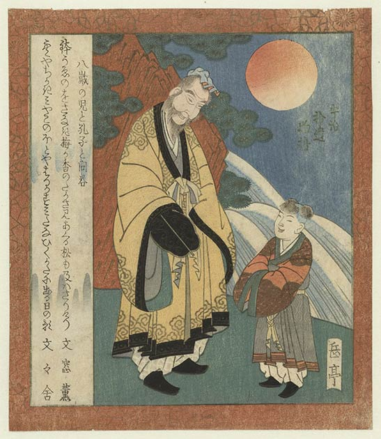 Confucius, depicted here in conversation with a little boy, was a Chinese philosopher whose ideas have influenced cultures all over the world. His disciples organized his teachings into the Analects (Rijksmuseum / CC0)