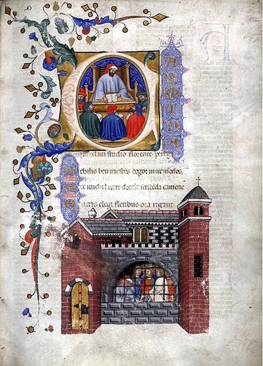 From a 1385 Italian manuscript of the 'Consolation of Philosophy': Miniatures of Boethius teaching and in prison